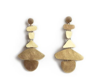 Statement gold earrings canaria - brushed yellow gold -partie earrings