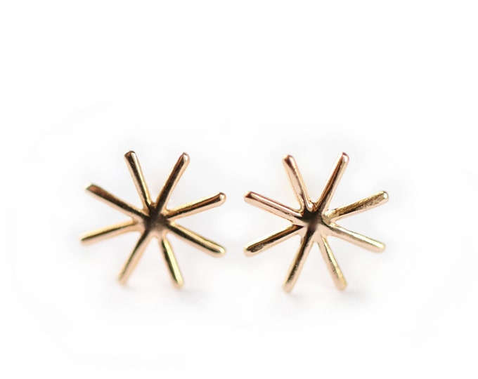 Gold star earrings  - Orion - Cocteau inspiration - 18 ct rose gold - yellow gold