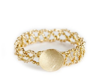 Stackable 18ct gold ring Olympe  women's ring