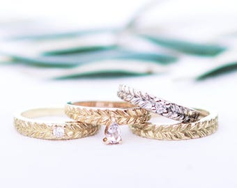 Diamond and gold wedding band - 18ct - rose gold - yellow gold - rapunzel ring - gold band - gold jewellery - stackable ring