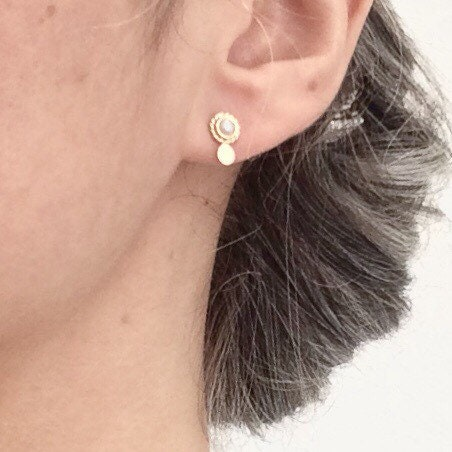 92ae21065c8 Mini gold earring - Mini luna collection - pearl earring - antic  inspiration - 18 ct rose gold - yellow gold
