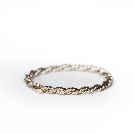 Stackable band - 18 ct gold band - twisted ring - thin gold ring - women ring - gold ring - grey gold - gold ring - grey gold