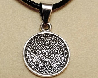 Sterling Silver Aztec Calendar Pendant on a Black 2mm Leather Necklace - 3105