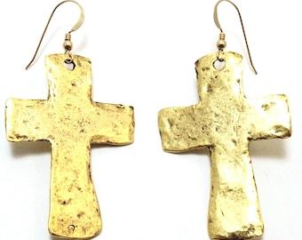 large Ornate Gold fill Cross Earrings