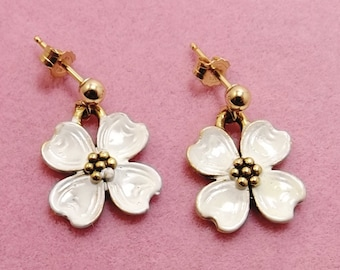 4232d0f06ba9 Delicate Hand Painted Dogwood Charms on Gold Filled Ball Post Stud Earrings-  (0989)