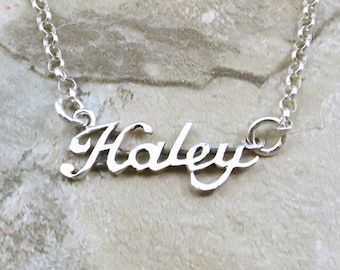 fc5e83e8ac29b Sterling Silver Name Necklace -Haley - on Sterling Silver Rolo Chain in  Length of Choice -1175