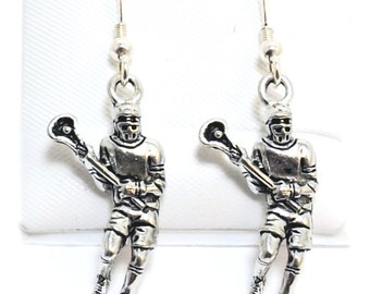 Pewter Lacrosse Player Charms on Hypoallergenic Ball Post Stud Earrings