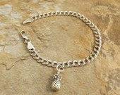 Sterling Silver Pineapple Charm on a Sterling Silver Traditional Charm Bracelet - 0172