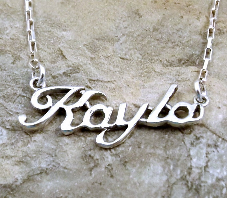 a247a5c49f8eb Sterling Silver Name Necklace - Kayla - on Sterling Silver Drawn Box Chain  in Length of Choice -0113