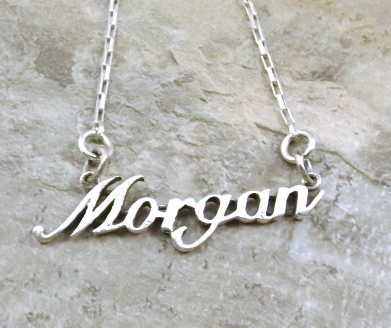 7108305f779f5 Sterling Silver Name Necklace -Morgan- on Sterling Silver Drawn Box Chain  in Length of Choice - 1297