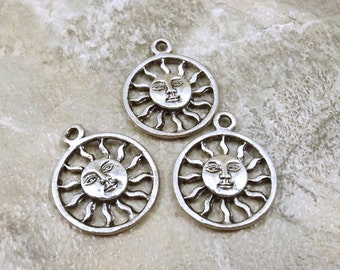 3 Pewter Encircled Sun with Face Charms -0551