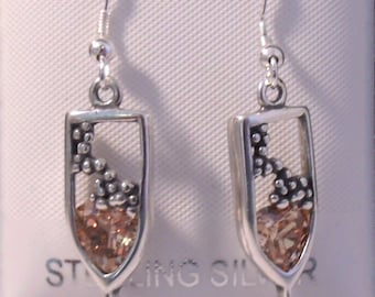 Sterling Silver and Amber Crystal Bubbly in Champagne Glass on STERLING SILVER French Hooks -1885