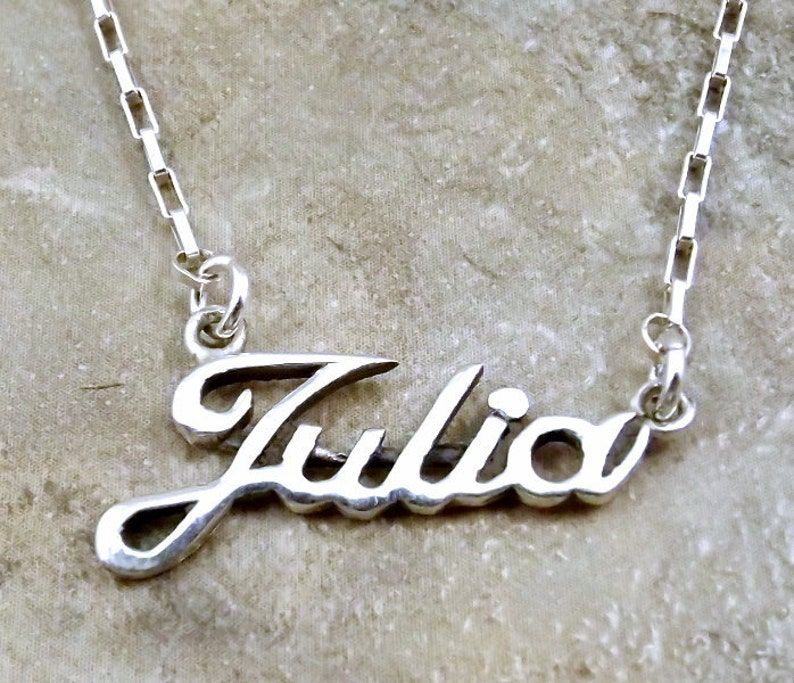 8d8f66f756efa Sterling Silver Name Necklace -Julia- on Sterling Silver Drawn Box Chain in  Length of Choice -1048