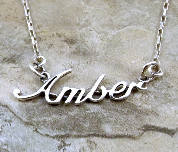 3320b89a86d24 Sterling Silver Name Necklace -Amber-on Sterling Silver Drawn Box Chain in  Length of Choice - 1296