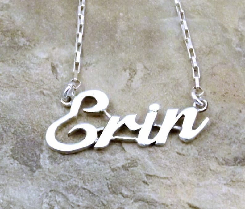 71b6a81d8dd42 Sterling Silver Name Necklace -ERIN- on Sterling Silver Drawn Box Chain in  Length of Choice -1190