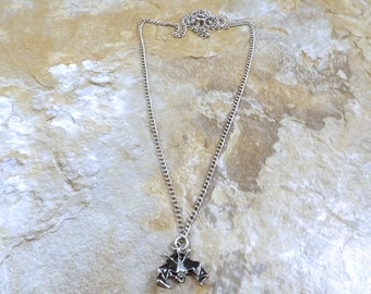 Pewter Bat with Black Enamel Pendant on a Link Chain Necklace- 5228