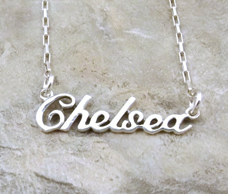 e8c342024026d Sterling Silver Name Necklace -Chelsea- on Sterling Silver Drawn Box Chain  in Length of Choice - 1303