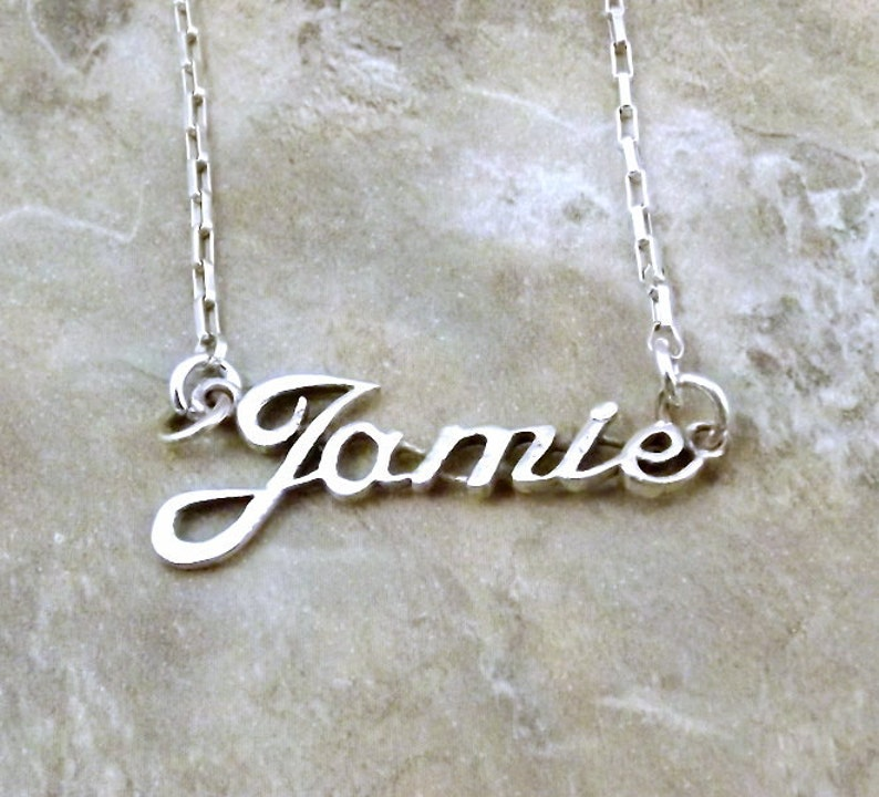 e8e856c39f0c2 Sterling Silver Name Necklace -Jamie- on Sterling Silver Drawn Box Chain in  Length of Choice -1102