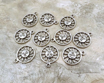 10 Pewter Encircled Sun with Face Charms -0551