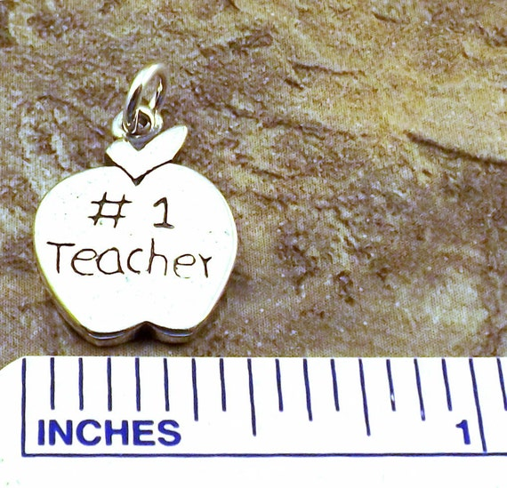 """STERLING SILVER  /""""#1 TEACHER/"""" CHARM WITH SPLIT RING"""
