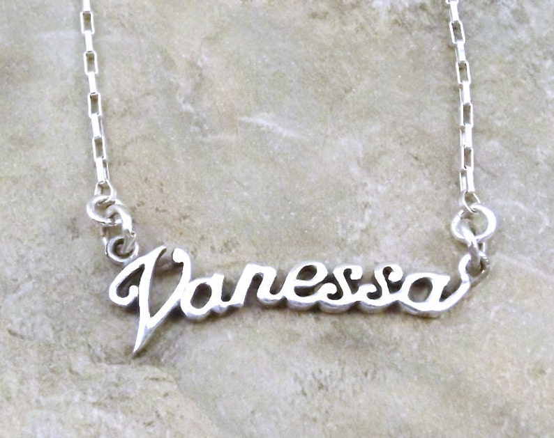 547411e5c3870 Sterling Silver Name Necklace -Vanessa - on Sterling Silver Drawn Box Chain  in Length of Choice -1174
