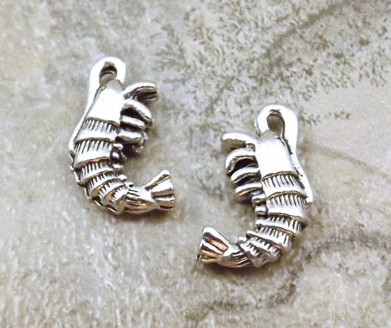 10 Pewter Shrimp Charms 5534 Set of Ten