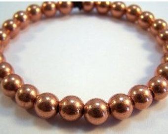 "Copper Beaded 7"" or 8"" Bracelet - Free Shipping in the US - (1104)"