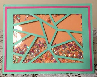 Geometric Abstract Confetti Shaker Card (Interactive)