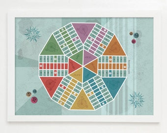Art for fun - Ludo for six players game board in a vintage A3 poster
