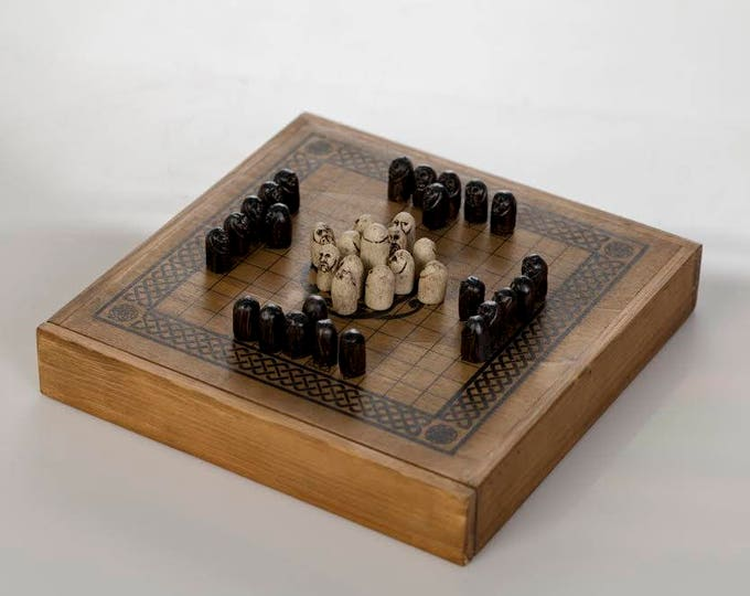 Featured listing image: Hnefatafl - Viking Chess - Handmade in wood - Classic Dark Wood