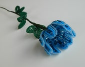 Turquoise and Blue French Beaded Flower
