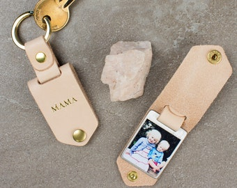 Personalised Metal Photo Keyring in Natural Leather Case with Gold Foiled Initials - Birthday / Mother's Day / Gift for Her, Photo Keychain