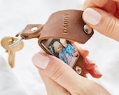 Personalised Photo Keyring Gift  with Leather Case + Initials - Handmade Christmas / Stocking Filler / Anniversary Gift Him, Keychain Gift