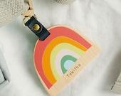 Personalised School Bag Tag Rainbow. Wooden Name Tag for Kids School Bag | Personalised Back to School Gift | Personalised Rainbow Tag