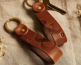 Personalised Couples Leather Keyring Set | Matching Pair of Keychains for Valentine's Day Gift, His and Hers Set of Two, Ampersand Initials