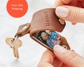 Personalized Photo Keychain with Leather Case + Initials   Father's Day Leather Photo Keyring Gift   New Daddy Photo Keepsake   UK Handmade