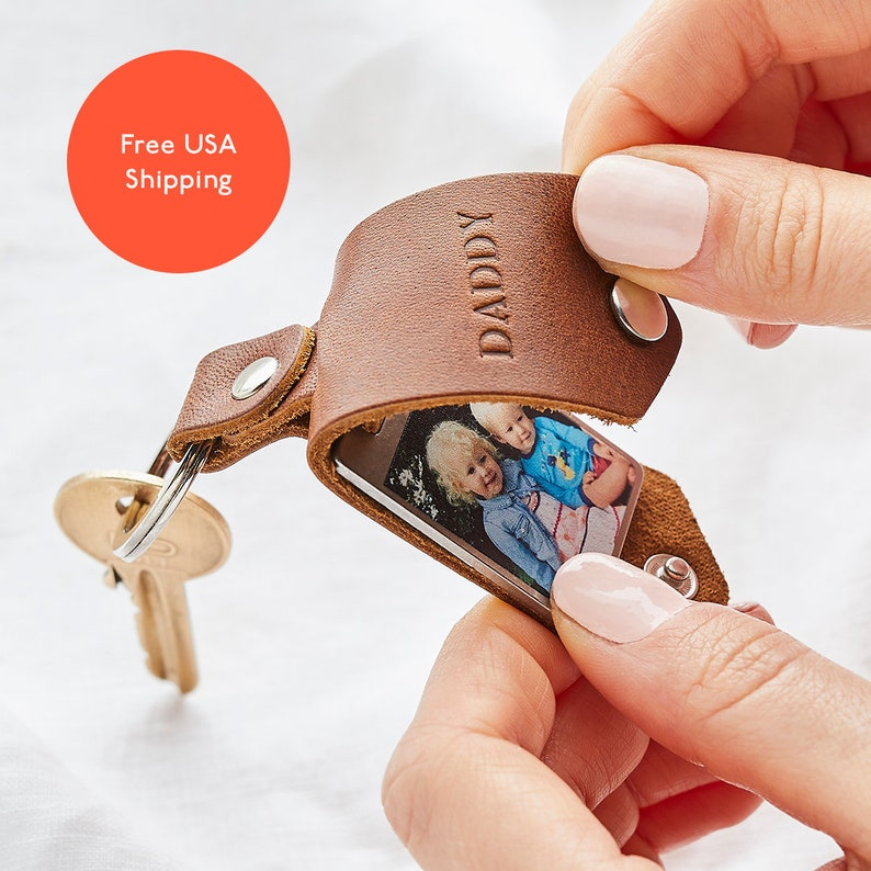 Personalised Photo Keyring Gift  with Leather Case  Initials image 0