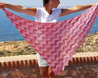 Knitting Shawl Pattern PDF, Triangle Shawl Pattern, Digital Download, Adelfa Shawl Pattern
