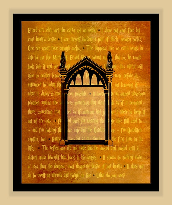 Harry Potter Mirror Of Erised Quotes Modern Print Poster Etsy
