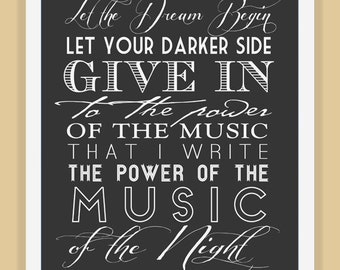 MUSIC of the NIGHT Phantom typography quote modern print poster