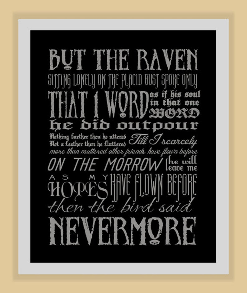NEVERMORE Edgar Allan Poe quote modern print poster image 0
