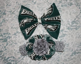 Philadelphia EAGLES Football Bow Headband Barrette or a Shabby Chic Flower  Baby Girls Infant Toddlers Teen SELECT Tabs below 4 Style SizeBow f40850ce133