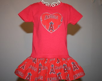 Little Girl LA ANGELS Baseball T shirt Dress Infant Toddler Toddlers Youth  Dresses SELECT Tab Below4 Dress Size Color Tee Heart App Size 21c6c89cc