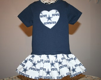 b51795f92 Baby Girls Dallas COWBOYS T shirt Dress Infant Infants Toddler Toddlers  Youth Game Day Football Dresses SELECT Tab4 Dress   Heart Size