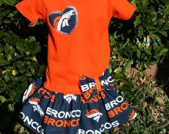 263eef0d4 Little Girls Denver BRONCOS T shirt Dress Infant Infants Toddler Toddlers  Youth Football Game Dresses SELECT Tab4 Size Color Heart App Size