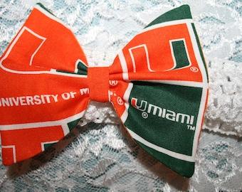 Miami Hurricanes Hair Bow