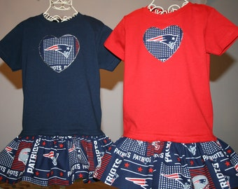 07c6707c87d Little Girls New England PATRIOTS T shirt Dress Infant Infants Toddler  Toddlers Youth Football Dresses Select Tab4 Size Color Heart Size