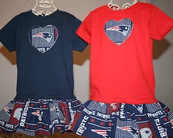 f7e59bb0e Little Girls New England PATRIOTS T shirt Dress Infant Infants Toddler  Toddlers Youth Football Dresses Select Tab4 Size Color Heart Size