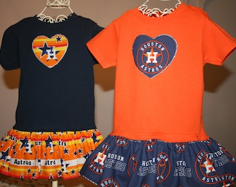 b37f70bd650 Little Girls Houston ASTROS T shirt Dress Infant Infants Toddler Toddlers  Youth Team Baseball Game Dresses SELECT Tab4 Sizes Heart Size