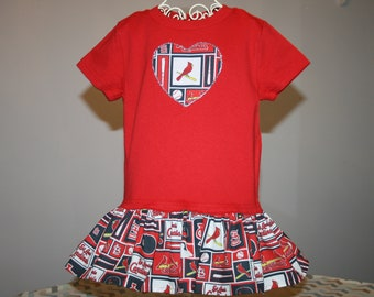 e85e79311870 Little Girls Arizona CARDINALS T shirt Dress Infant Infants Toddler  Toddlers Youth Football Dresses SELECT Tab 4 Dress   Heart Size
